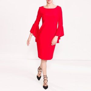 Frank Lyman Cascading Bell Sleeve Sheath Dress